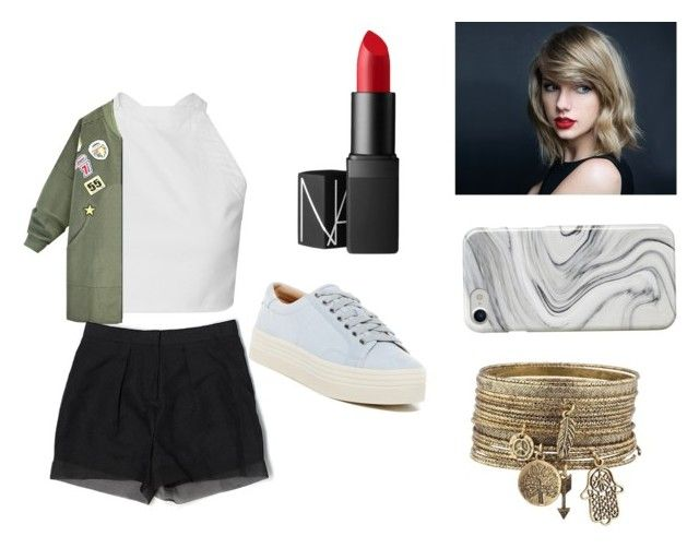 """""""taylor swift look"""" by nathalieluyten on Polyvore featuring mode, H&M, Marc Fisher LTD, Recover en NARS Cosmetics"""