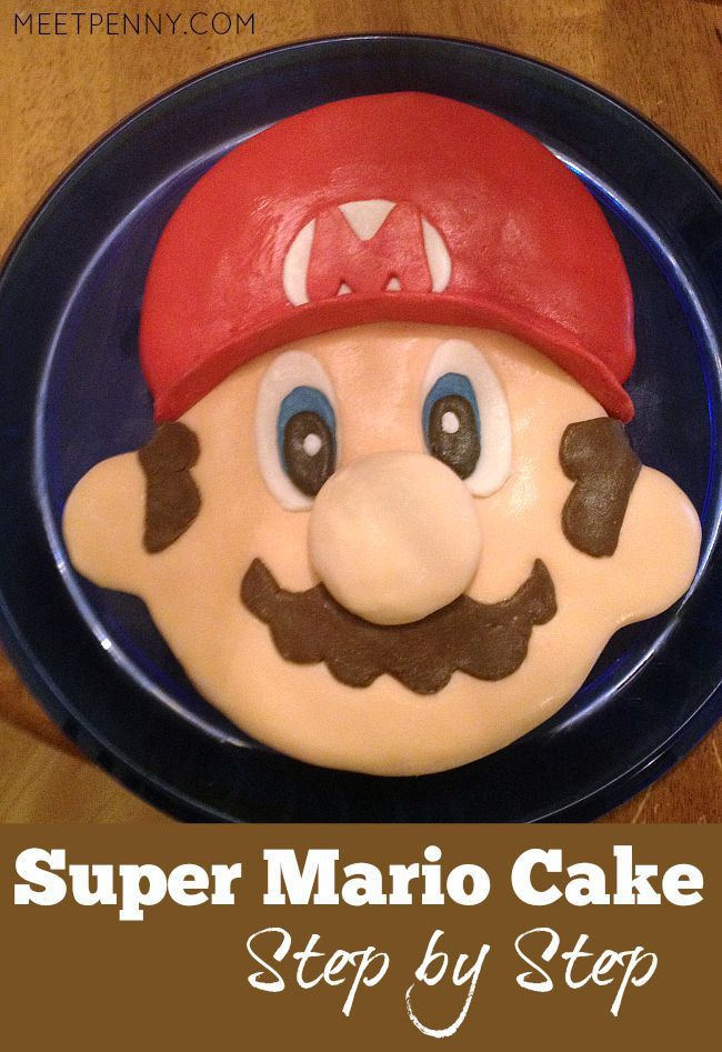 This Super Mario cake looks simple to make. Perfect addition to Super Mario party ideas!