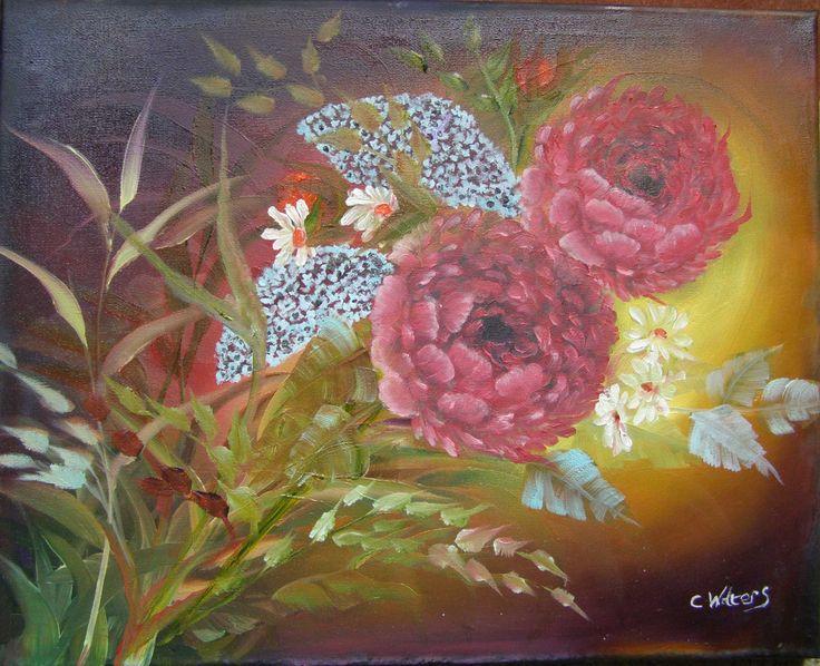 Peony Lilacs and Daisy 16 x 20 oil on canvas
