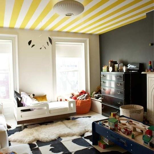 Kids Room, Kidsroom, Kid Rooms, Toddlers Room, Painting Ceilings, Windows Shades, Boys Room, Black Wall, Stripes Ceilings