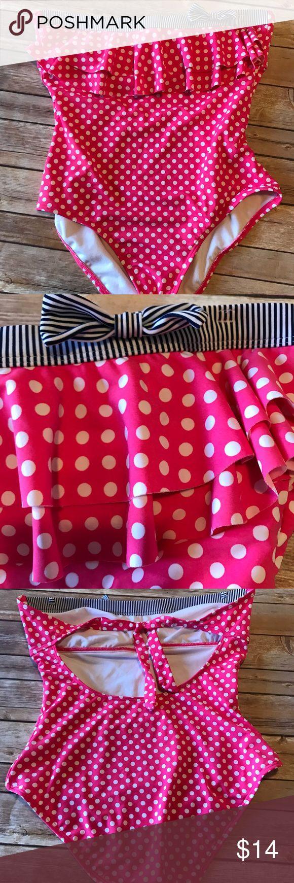 Arizona one piece swimsuit  Pink and white polka Arizona one piece swimsuit  Pink and white polka dot Ruffle Top Navy and White stripe around the neckline Arizona Jean Company Swim One Pieces