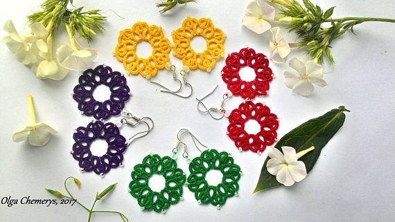 Mandala earrings Mandala tatting earrings tatted earring