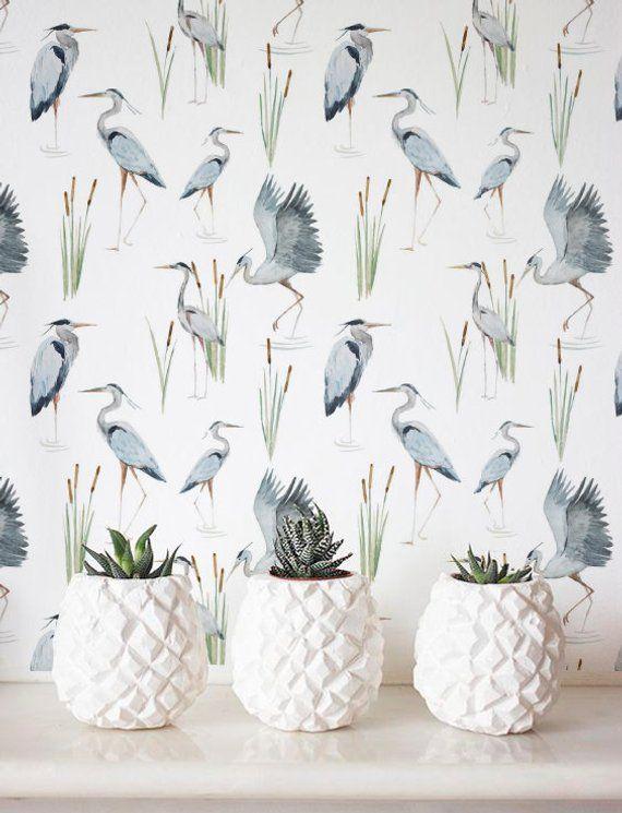 Great Blue Heron Wallpaper Removable Wallpaper Self Adhesive Wallpaper Tropical Wall Decor Jungle Wallcovering Jw051 Tropical Wall Decor Removable Wallpaper Self Adhesive Wallpaper
