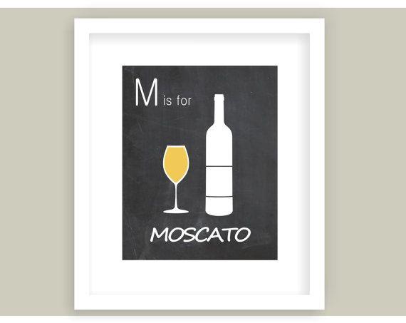 Wine Art Print Moscato White wine Chalkboard by VerbosePrints