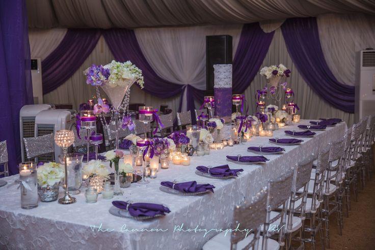 Purple wedding decor at the bluevelvetmarquee