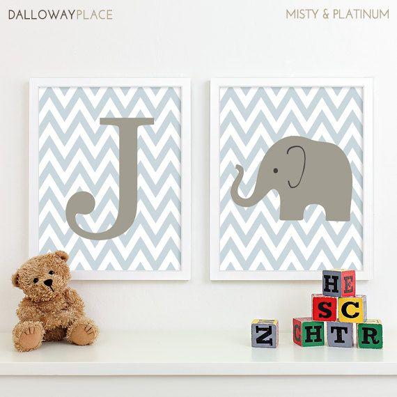 Baby Boy Nursery Art Chevron Elephant Nursery Decor, Kids Wall Art, Safari Nursery Art Prints, Baby Name Chevron Initial Letter Art