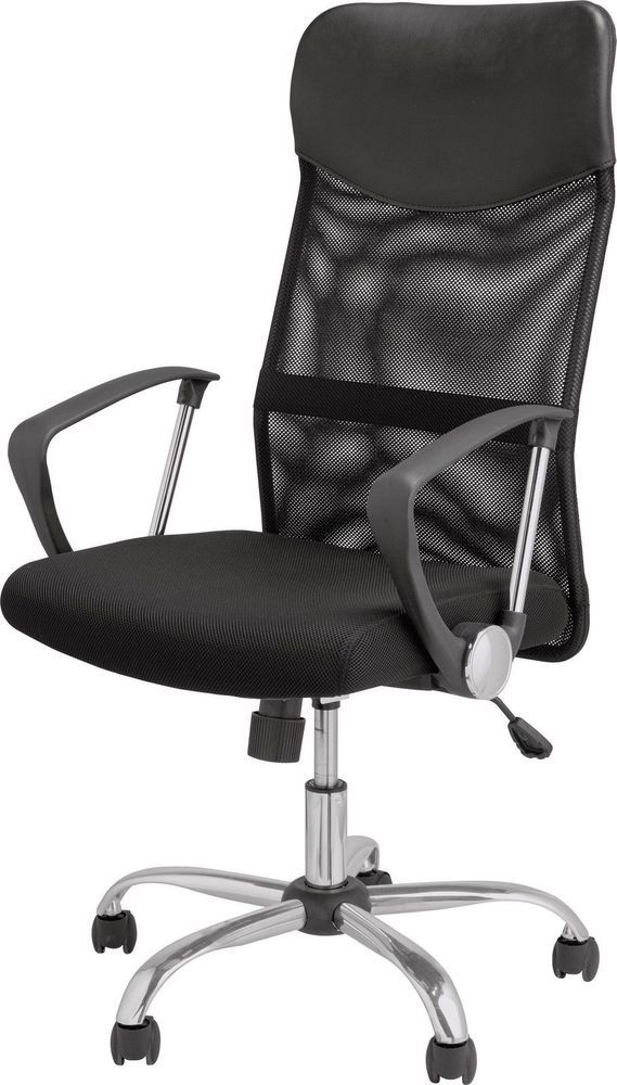 Modern High-back Mesh, Black Leather Effect Office Chair - Chrome Trim + wheels.