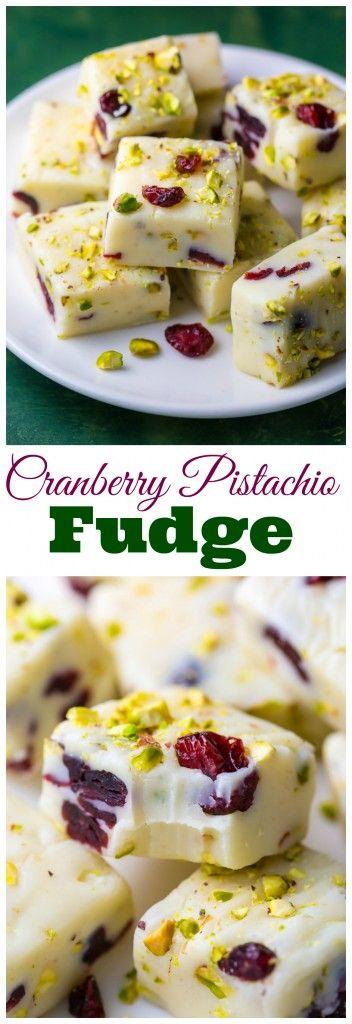A super easy 6-ingredient recipe for White Chocolate Cranberry Pistachio Fudge!
