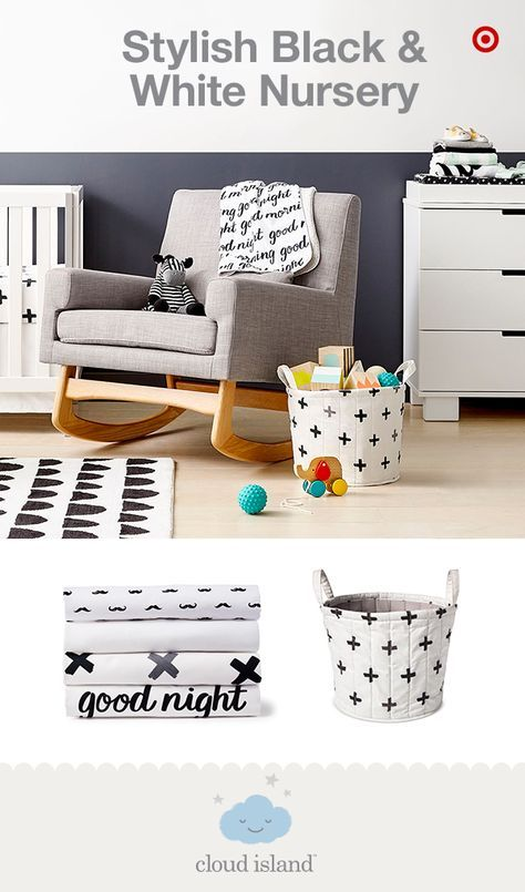 Create a nursery that reflects your personal style with Cloud Island, only at Target. This monochromatic look allows you to easily update the nursery by adding a pop of color any time you wish. And the graphic bold prints and patterns can be mixed and matched for an on-trend look that exudes modern sophistication with a fun playfulness. Choose bedding, blankets, rugs, changing pads and bins in blacks, whites and grays—they'll look sleek and oh-so right.