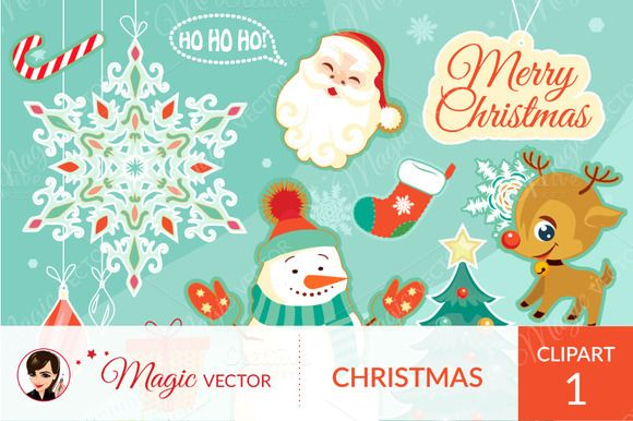 Christmas clipart commercial use by Magicvector on Creative Market