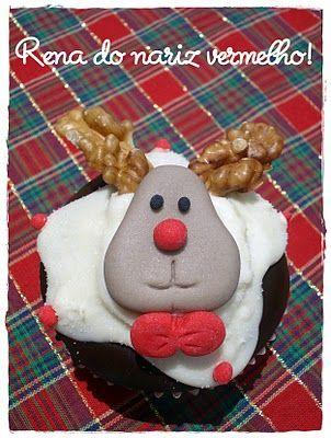 Fofurices: Cupcake de Natal: Rena do Nariz Vermelho