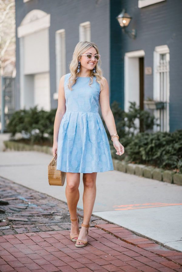 Hydrangea Blue Pastel Polka Dot Dress — bows & sequins. Blue polka dot dress+brown espadrille wedge sandals+bamboo handbag+blue long earrings+sunglasses. Summer Dressy Casual Outfit 2017