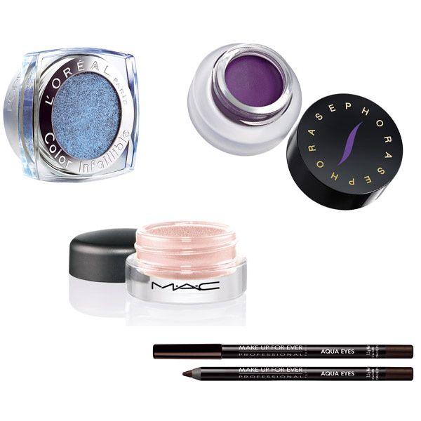 (de izda a dcha) Sombra Color Infallible de L'Oréal Paris (14,95€); Sombra y eyeliner Star Waterproof de Sephora (10,90€); Sombra ProLongwear, de M·A·C (24€); Lápiz Aqua Eyes, de Make Up Forever (17,90€).
