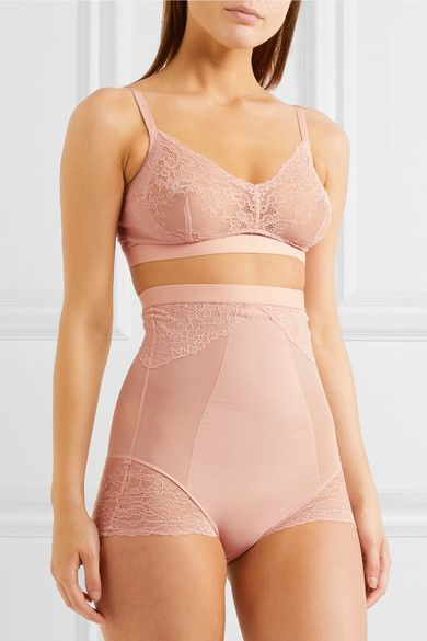 Spanx - Spotlight Stretch-tulle And Lace High-rise Briefs - Neutral - x large