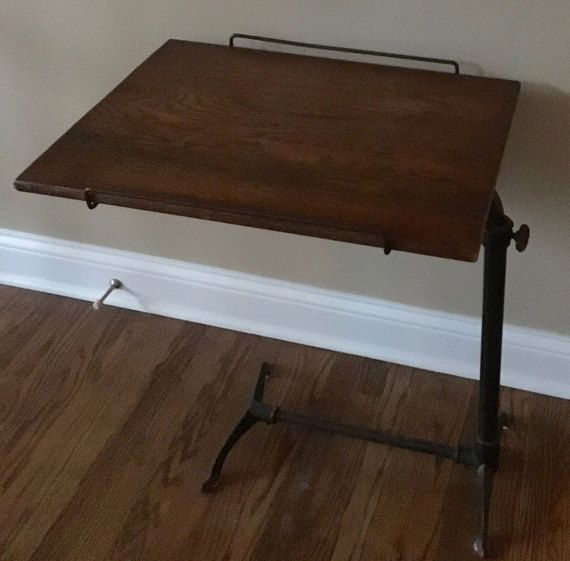 Vintage Adjustable Iron Hospital Bed End Table by alisalevyklein