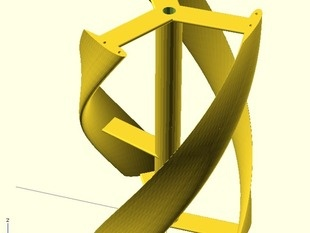 Parametric helical Darrieus vertical axis wind turbine by qharley - Thingiverse