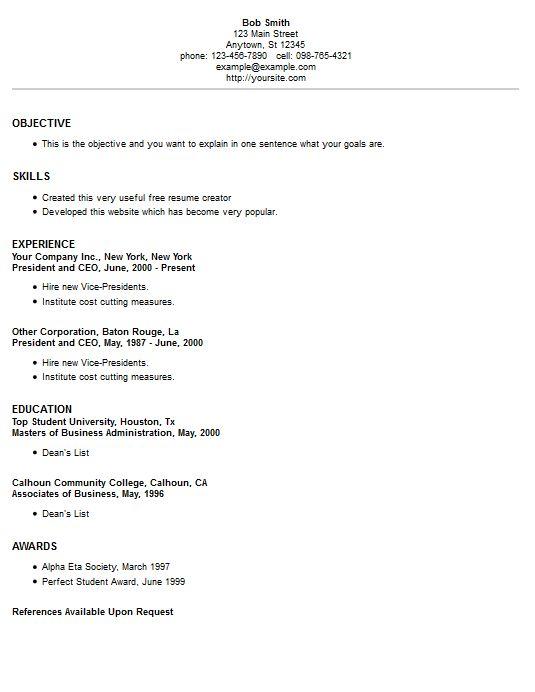 resume example 2 resume creatorresume stylesresume examplesfree - Free Resume Creator