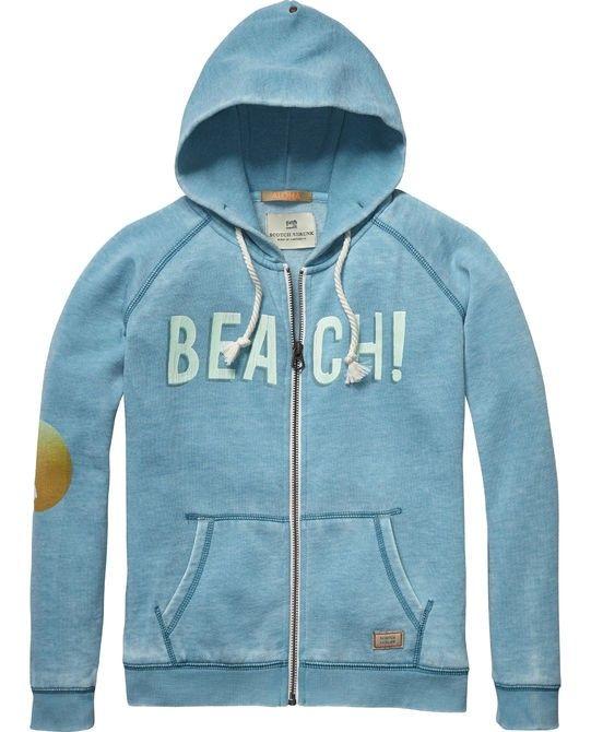 Long Sleeve Turquoise Zip Hoody With Print 40522