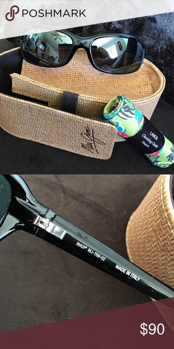 Maui Jim lagoon polarized gloss black sunglasses Autgentic Maui Jim 189-02 lagoon sunglasses. Comes with case and cleaning cloth. No scratches. In excellent condition. Made in Italy Maui Jim Accessories Sunglasses