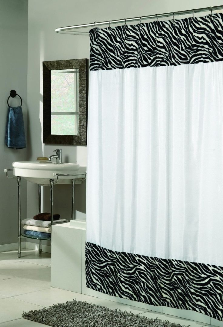 Safari bathroom decorating ideas - Animal Instincts Zebra Stripe Shower Curtain For An African Safari Bathroom Decorating Idea