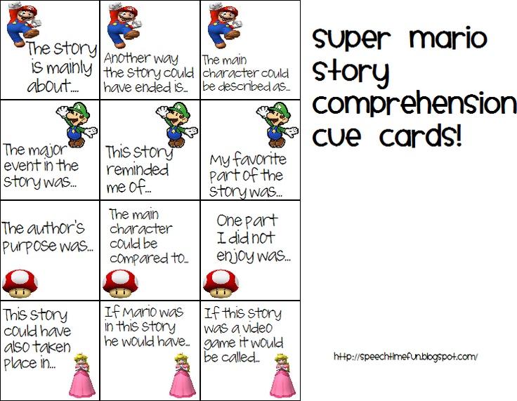 Speech Time Fun Super Mario Comprehension Cue Cards Cue