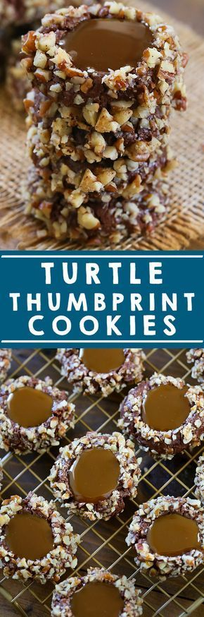 Easy holiday cookies everyone will love! These Turtle Thumbprint Cookies are packed full of flavor and are easy to make! #holiday #dessert #chocolate