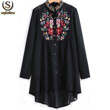 Топы мода 2015 женщин стенд ошейник с длинным рукавом цветочные вышитые ближний хем Blusas европейский бренд весна черный блузка(China (Mainland))