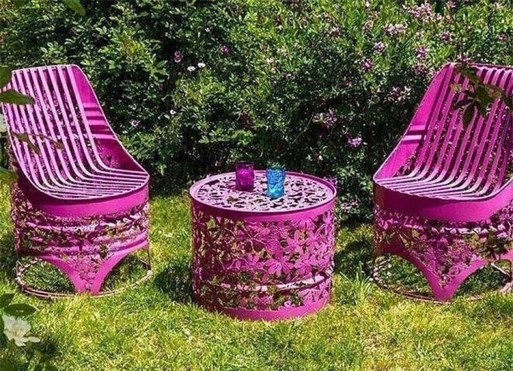garden furniture made from barrels