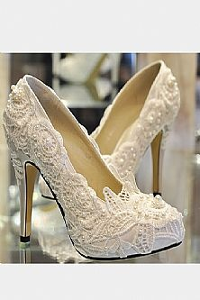 Beading Lace Red Wedding High Heel Shoes