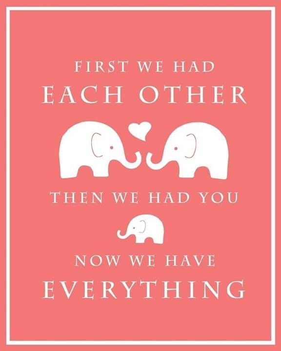 First we had each other, then we had you, now we have everything   elephant print baby nursery