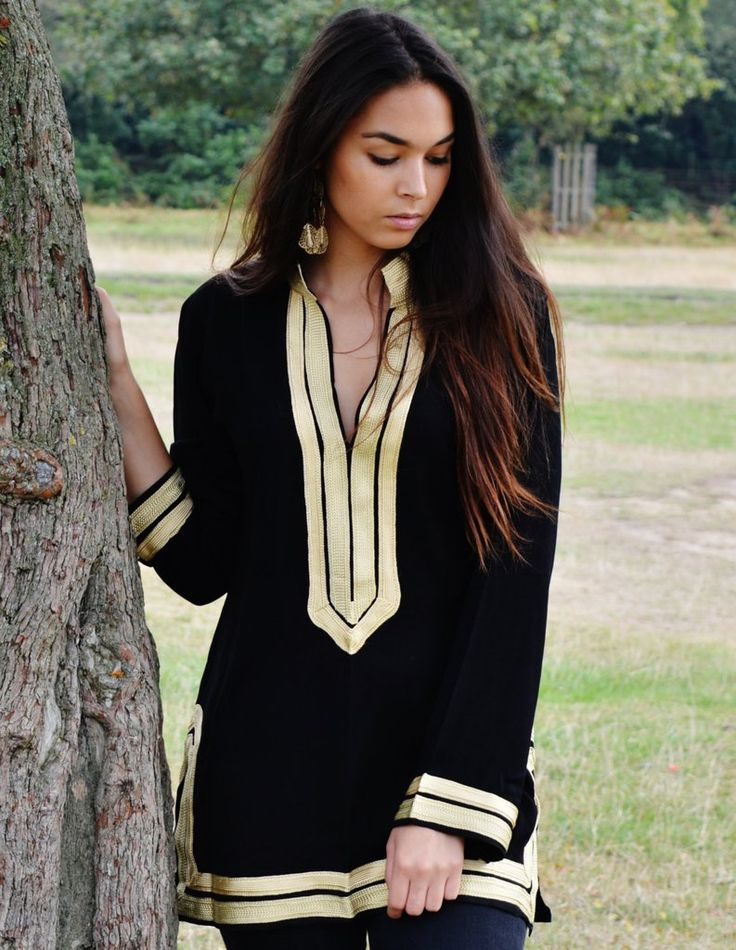 Black Tunic with Golden Embroidery Mariam- perfect for resort wear, bo – Maison De Marrakech