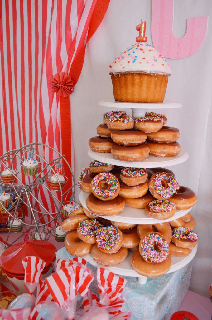 Project Nursery - Carnival 1st Birthday Party Doughnut Tower