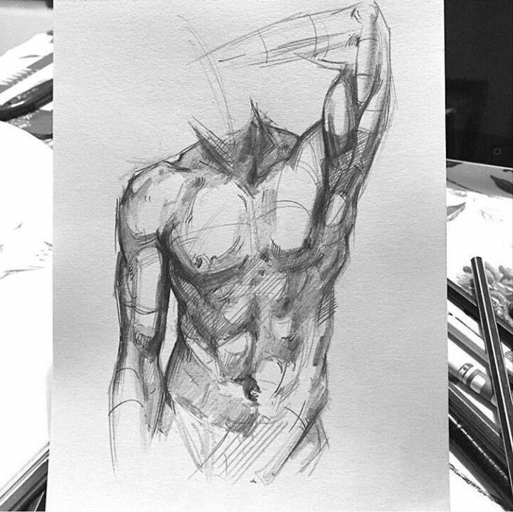 Muskel Torso Skizze. Lieben Sie die raue Schattierung.