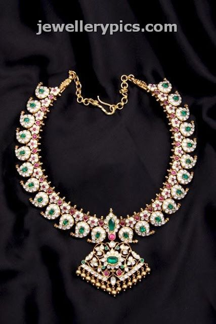 C krishnah Chetty sons Heritage necklace collection designs with ruby emarald and pearl ~ Jewellery Pics