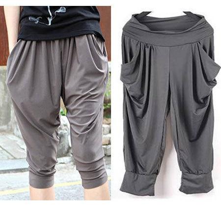 Summer Korean Big Code Women's Stretch Capri Pants / Harem Pants | eBay