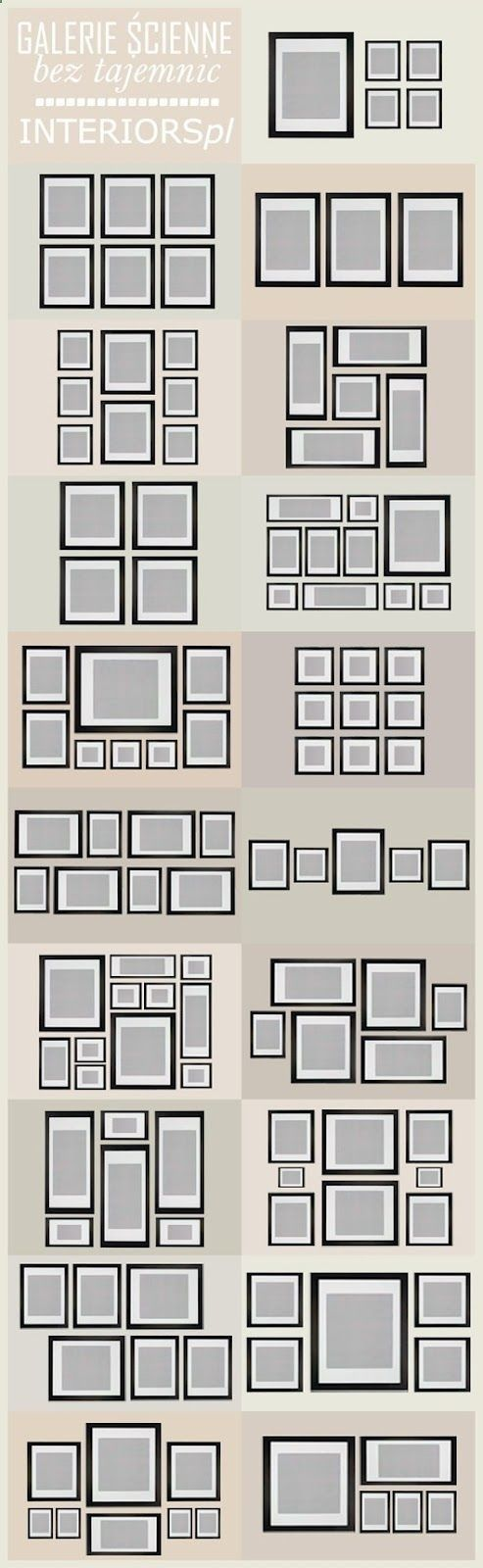 DIY: Gallery Wall Arrangement Ideas - plus many other guides, such as yardage guides for upholstered furniture, window treatment  terminology guides, area rug size guides, etc. This is an excellent resource!!!
