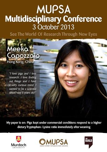 Meeka Capozzalo is from Hong Kong and is writing a paper on: 'Pigs under commercial conditions respond to a higher dietary Tryptophan: Lysine ratio immediately after weaning' and will be presenting her paper on the 3rd of October at the MUPSA Conference.