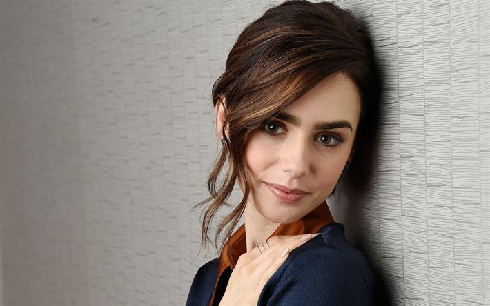 Download wallpapers Lily Collins, American actress, portrait, blue jacket, beautiful woman