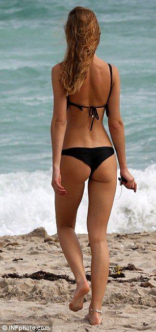 How cheeky! Model Olga Kent wears thong bikini on Miami ...