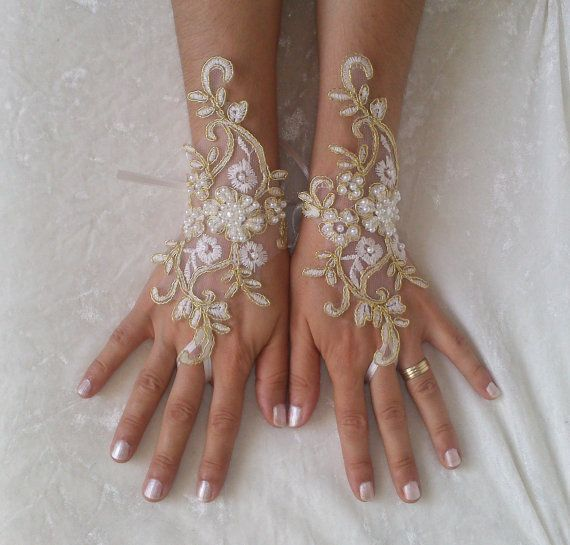 Ivory gold frame wedding gloves bridal gloves lace by GlovesByJana