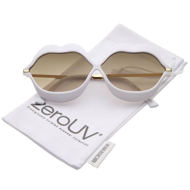 zeroUV - Oversize Lip Shape Frame Metal Temples Gradient Lens Novelty Sunglasses 63mm (White-Gold / Smoke Gradient)