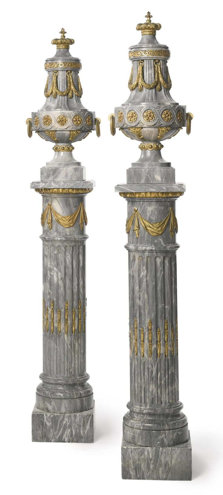 A fine pair of Louis XVI style gilt-bronze mounted…