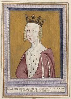 Beatrix Bourbonská, manželka Jana Lucemburského, krále českého a polského, hraběte lucemburského