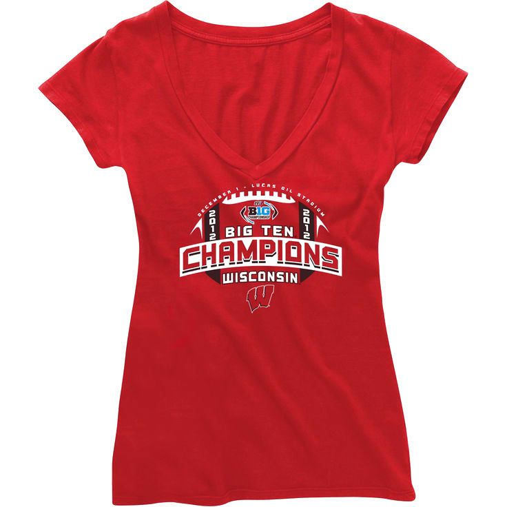 Wisconsin Badgers Women's 2012 Big Ten Conference Football Champions Survey V-Neck T-Shirt - $15.19