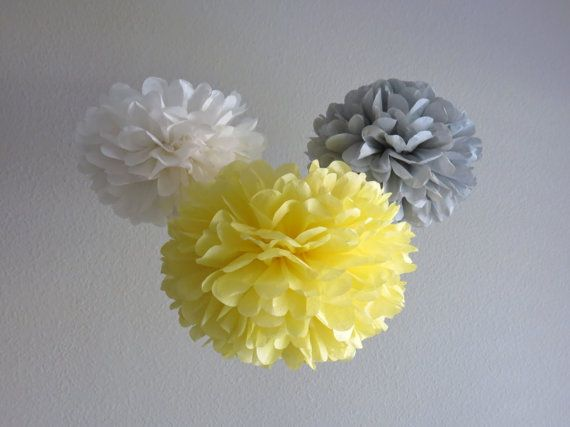 Very VERY temped to make Christiana's First Communion Party colors Grey, yellow & white and yes, there will be POMS!