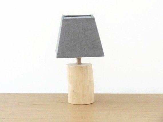 Lamp Square Shade Scandinavian Driftwood Zen Decor Bedside Grey ulKcF15J3T