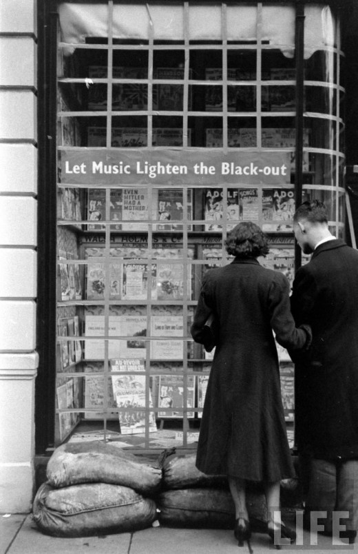 'Let Music Lighten the Black-out'  Shop Window, Soho, London, 1939, uncredited