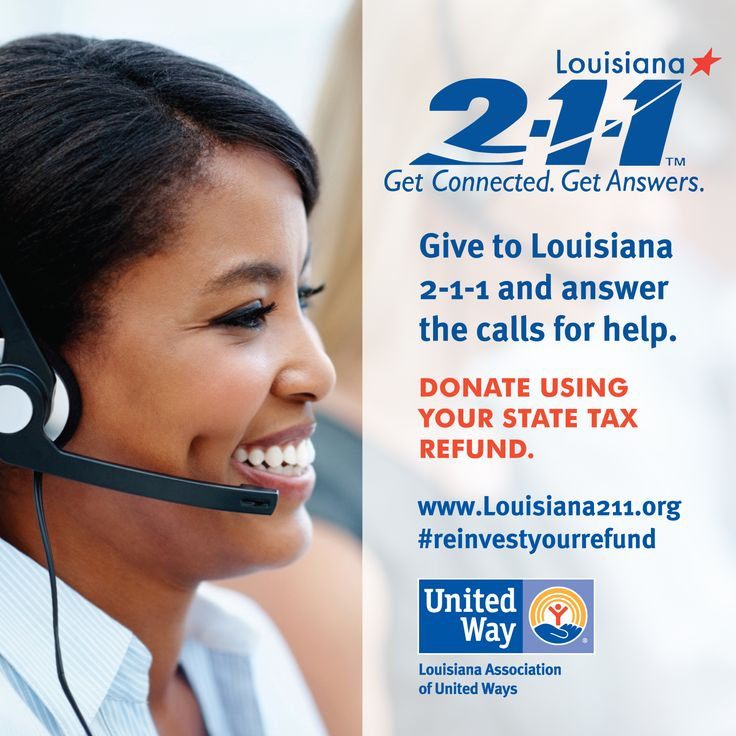 This past year, more than 210,000 people throughout Louisiana called 2-1-1 to seek help. Support Louisiana 2-1-1 by donating through your state tax refund. #ReinvestYourRefund #211