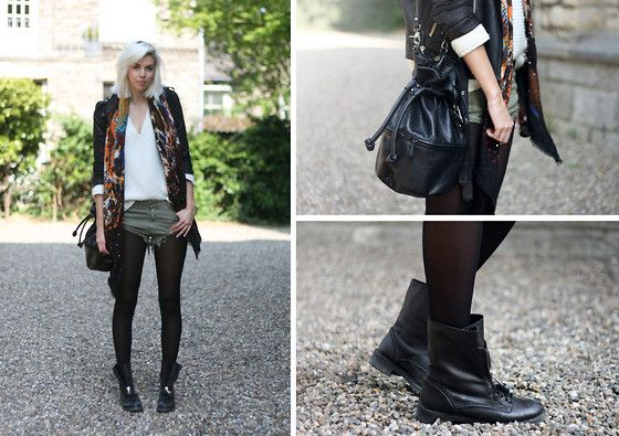 Zara Shorts, Scarf, Boots And Jumper, H Duffle Bag