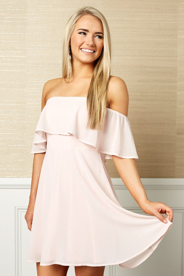 Under The Moonlight Blush Pink Off The Shoulder Dress at reddressboutique.com